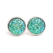 Boho Silver Gold False Druzy Ear Stud Natural Stone Size12mm Quartz Earrings 11 Green