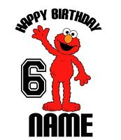 Elmo Sesame Street  Birthday numbers T shirt Iron on Transfer personalized age