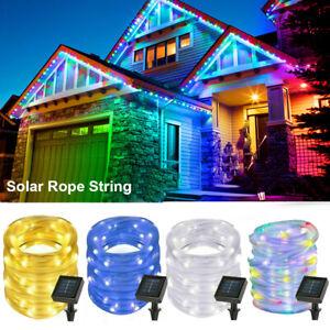 50 100 200 Solar LED Rope Tube String Lights Garden Outdoor Landscape Waterproof