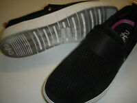 Ryka Haze Perforated Suede Slip On Walking Shoes Sneakers Women's 7 W Black