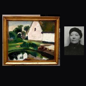 Ebba Carstensen (1885) Pioneer female artist. Dated 1916. Exhibition oil. Rare!