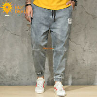 New Men's Gray Jogger Denim Pants Distressed Loose Harem Jeans Plus Size 30-46