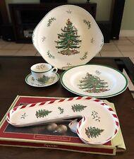 5 pcs spode christmas tree dinner pl, cane & serving tray saucer&cup
