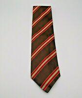 """Nazareno Gabrielli Men's Neck Tie Brown w/Gold & Red Stripe Pattern Silk 54"""""""