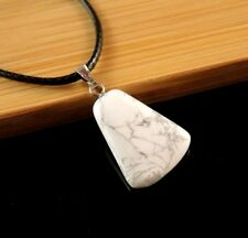 White Howlite Gemstone Fashion Pendant on a Black Cord Necklace #571