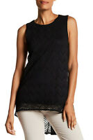 Vince Camuto Herringbone Sleeveless High Low Lace Blouse Tunic Top Black Size S