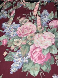 Vtg. Fabric Shower Curtain Pink Floral on Maroon Hook Holes/Ties Shabby Chic EUC
