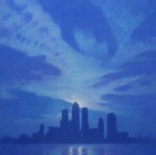 """Hermoso Y Original Marca Harrison """"azul canario"""" Ciudad de Londres Wharf Pintura Al Óleo"""