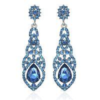 Nice Teal Austrian Crystal Rhinestone Chandelier Dangle Earrings Prom E115t