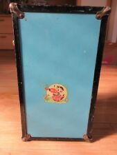 """Cass Toys Vintage 1950's 14"""" Tall Doll Wardrobe Trunk Blue Metal with Cass Label"""