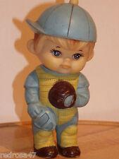 VINTAGE 1971 IWAI INDUSTRIAL BASEBALL PLAYER BOY Vinyl Squeak Toy FROM Korea