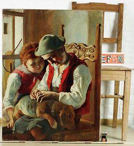 Oil Painting Antique Children Dog Siblings Costume Streicheleinheiten Lap Dog