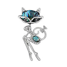 AU_ FT- ALS_ KF_ Women's Rhinestone Fox Brooch Pin Bridal Jewelry Shawl Scarf De