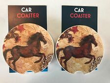 """New listing A Pair of Brand New """" True West Horse """" Style Absorbent Stone Car Coasters"""