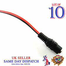 10x DC Power 2.1mm FEMALE Socket Fly Lead Cable Jack Connector CCTV Camera