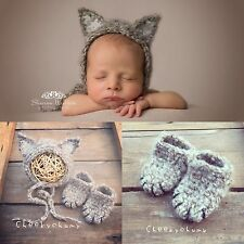 Fluffy Mohair crochet Cat hat + booties. Photography prop. Newborn. Baby Shower