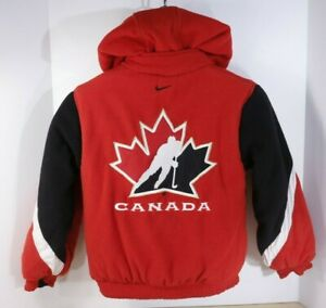 Nike Bauer TEAM CANADA Hockey Youth Size 8 Reversible Hooded Jacket Full Zip EUC