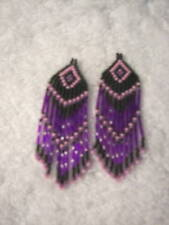 handcrafted  purple Seed beads  Earrings NEW