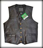 Gilet jacket blouson sans manche en cuir patchwork bikers ou country  - S à 7XL