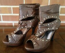 Kalli Brown Peep Toe Spike Stiletto High Heel Ankle Boots Studs Size 9