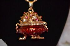 Betsey Johnson Red Chinese Fortune Lucky Bowl Pendant Sweater Necklace -BJ51