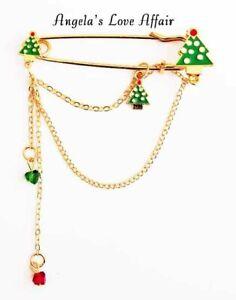 CHRISTMASY XMAS ENAMEL CRYSTAL 3 CHRISTMAS TREES  SAFETY PIN CHAIN BROOCH BADGE