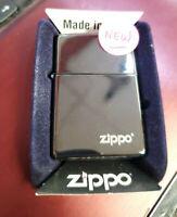 New Zippo Lighter - High Polish Black Chrome w/Zippo Icon~