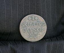 1771 Denmark 1 Skilling World Coin Crown monogram Danske shilling Scandinavian c