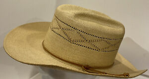 Vintage 50s/60s STETSON SADDLE ROLL Straw Cowboy Hat 7 1/8 western WIDE BRIM