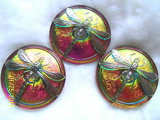 "CZECH GLASS BUTTONS(3pcs)DRAGONFLY PLATINUM 1.5"" -41mm  US  DX 018"