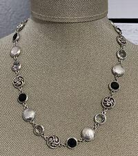 Brighton EUROPA Round Bead Crystal Link Silver tone Necklace