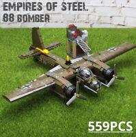 559pcs Military Ju-88 Plane Bricks Building Blocks Drone Toys Helicopter Diy