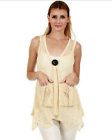Lily by Firmiana Open Knit Bohemian Sleeveless Vest Top CREAM Size M