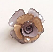 Laurence Coste Plastic Grey and Beige Flower Ring - Size 5.3 cm Circumference
