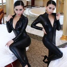 Fashion Sexy Women Black charming Bodysuit Zipper Leather Jumpsuit Costume New