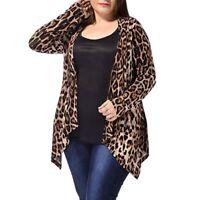 Fashion Women's Plus Size Leopard Print Asymmetric Open Front Cardigan Coat