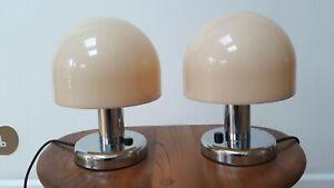 PAIR OF GUZZINI STYLE MUSHROOM BEDSIDE LAMPS MID CENTURY 1970S BHS PROVA