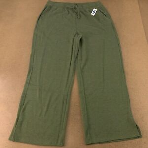 Old Navy Women's Size XL Green High-Waisted French-Rib Wide-Leg Lounge Pants NWT