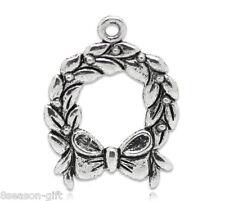 30 Silver Tone Christmas Wreath&Garland Charms Pendants 25x19mm