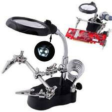 New Helping Hand Clip LED Magnifying Soldering Iron Jewelry Stand Lens Magnifier