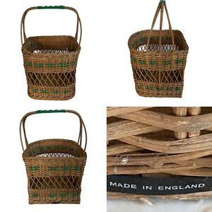 🌟True Vintage Wicker & Vinyl Woven Long Handled Basket Display Shopping