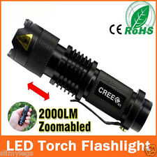 Mini CREE Q5 2000LM Zoomable LED Flashlight Torch Adjustable Focus Light Lamp UK