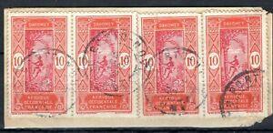 France Cols DAHOMEY Stamps 10c{4} Porto Novo CDS 1920 Used Piece SS4327