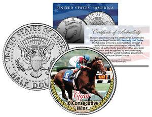 CIGAR * 16 Consecutive Wins * Thoroughbred Racehorse JFK Half Dollar U.S. Coin