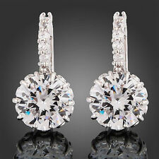 Cubic Zirconia White Gold Plated Hoop Costume Earrings