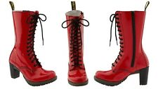 Dr. Martens Women`s Dee Diva 14 Eye Zip Heel Boot Red Patent US 10 EU 42 UK 8