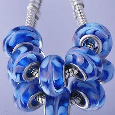 5pcs Blue Stripe Lampwork Murano Glass Beads silver gold filled Fit Bracelet