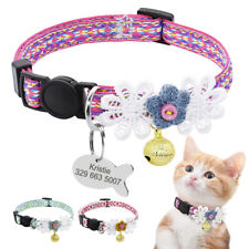 Floral Cat Breakaway Collars & Personalised Name ID Tag Quick Release for Kitten