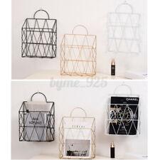 Metal WIre Wall Shelf Basket Rack Newspaper Book Storage Display Unit Organizer