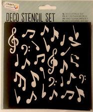 Decorative Stencil Set - Card Making & Crafting - 5 Stencils Music Four Leaf